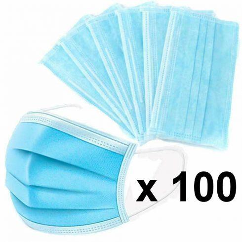 Szájmaszk, orvosi szájmaszk, 3 rétegű, kék színű, 100 db-os csomag