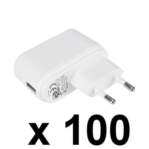 Nemko USB töltő, 100 db-os csomag, fehér, GDP06AV-0501000-EU