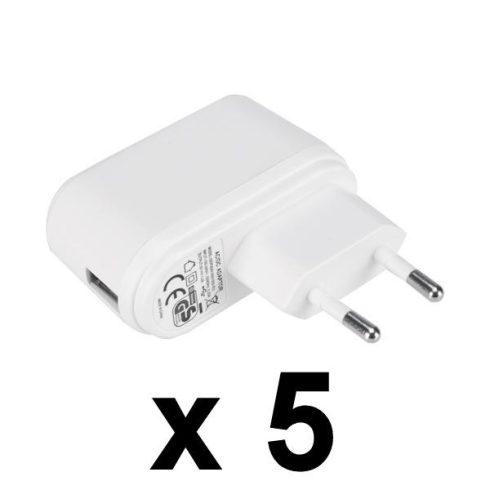 NEMKO USB töltő, 5V 1A,  5 db-os csomag, GDP06AV-0501000-EU