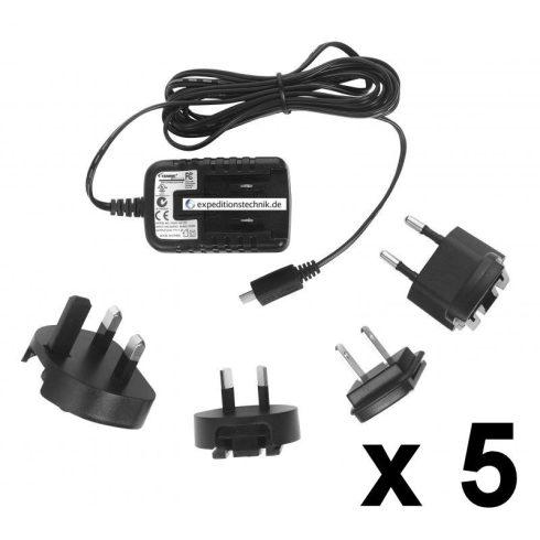 Micro USB tápegység, univerzális töltő, 5 db-os csomag, 5 V, 1,2 A , 1,7 m kábel, TENWEI TAV0105012005