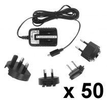 Micro USB töltő, 5V / 1,2A , 50 db/ csomag,  univerzális töltő, mobiltelefon töltő, okostelefon töltő, tablet töltő, GPS töltő TAV010501200
